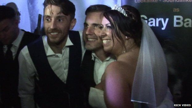 Gary Barlow gatecrashing a wedding in Liverpool