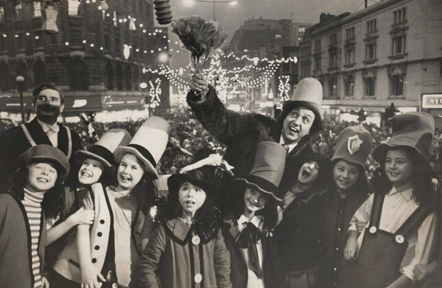 Ken Dodd and his Diddy men turning the Christmas lights on 1970